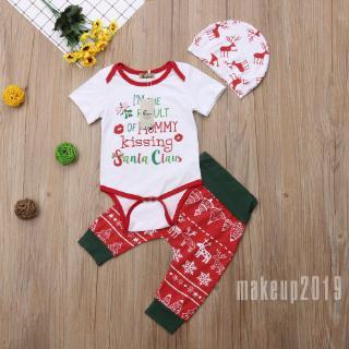 Mu♫-XMAS Newborn Baby Girl Boy Romper Jumpsuit Pants Hat 3pcs Outfits Set Clothes