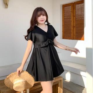 2021 new hot spring bathing suit women's dress style flab hiding black boxer slim fit plus-sized M fat girl 200 Jin