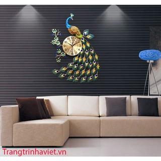 Đồng Hồ Trang Trí Chim Công Đậu Cành Mai DH25 (65cmx75cm)