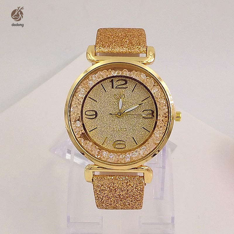 Women Watches Crystal Ball Big Dial Shiny PU Leather Strap Wristwatch Ladies Analog Quartz Watch Gif