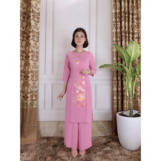 đồ lam đi chùa, áo dài phật tử, áo lam thêu sen- LS04 thumbnail