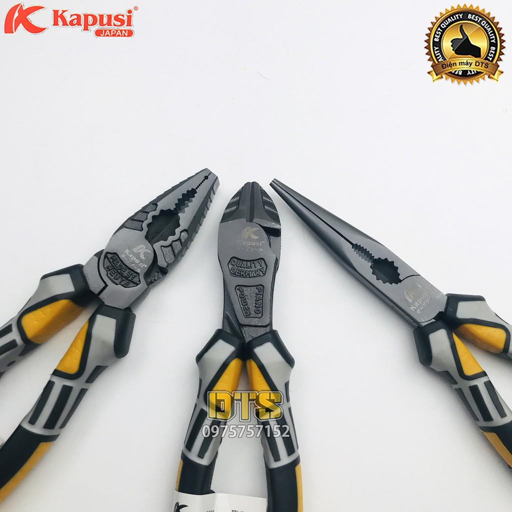 Bộ 3 kìm điện - cắt - nhọn công nghiệp Kapusi JAPAN thép cao cấp CR-V, thiết kế tiên tiến tiết kiệm 30% lực bấm