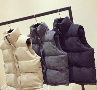 Autumn Winter Women Vest Korean Version Loose Waistcoat Cotton Jacket Thickened Corduroy Short Down Cotton