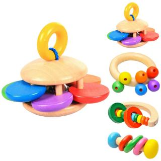 Wooden Bell Rattle Toy Baby Handbell Musical Educational Instrument Rattles For Toddlers Babies Baby