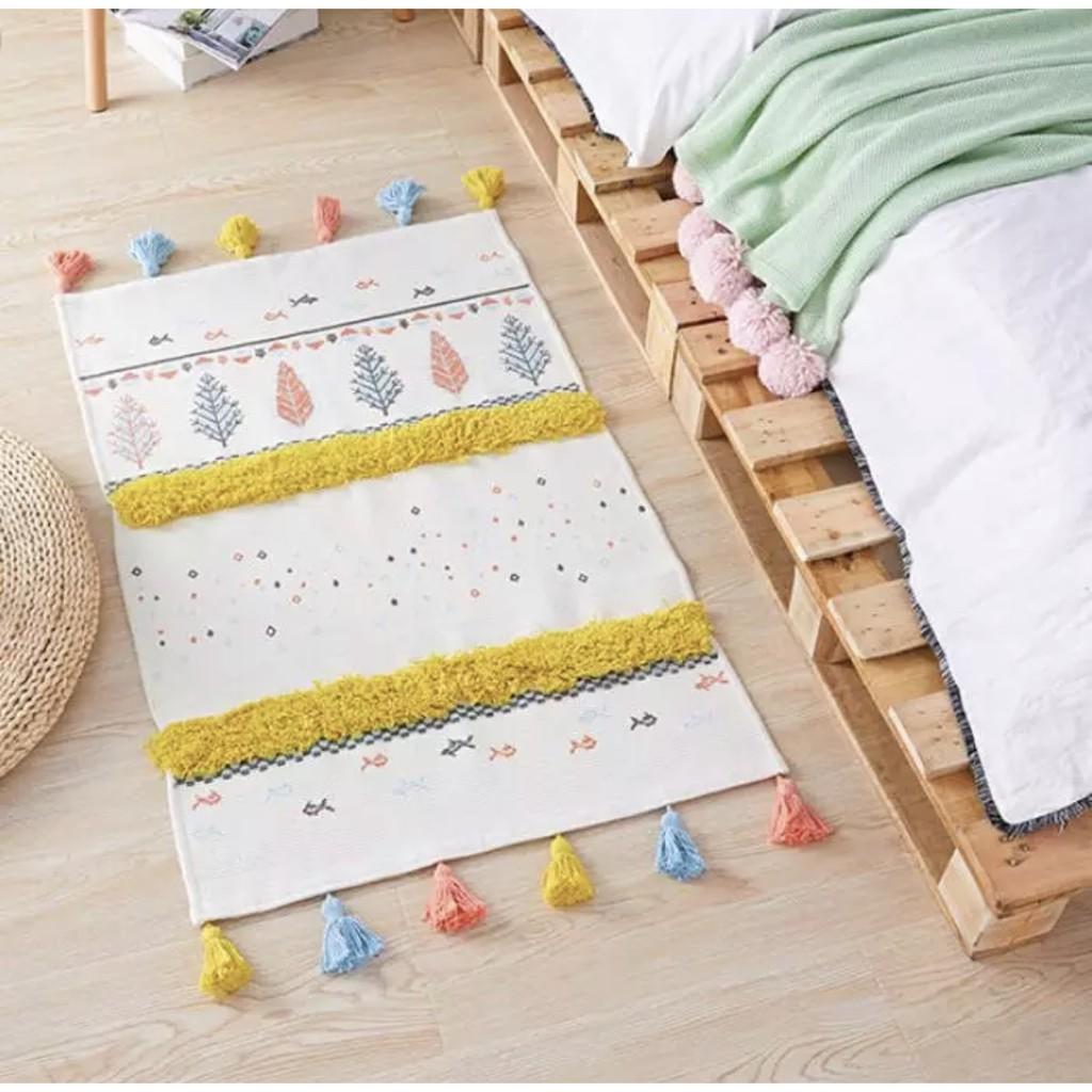 Thảm Scandinavian sợi cotton hoạ tiết nổi 60x90cm