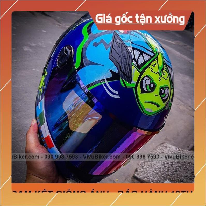[Giống ảnh] [GIÁ KHO] Mũ bảo hiểm Fullface Asia mt136 SRT màu xanh dương - bảo hành chính hãng 12th