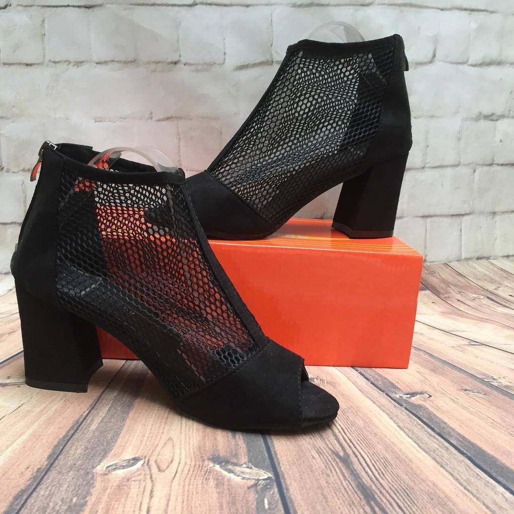 {SIÊU HÓT} Giày Lưới Gót Vuông 7 Phân Kín Gót và Hở Gót (hở gót form nhỏ) [Fullbox - Ảnh Thật)