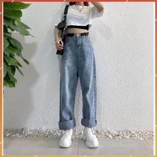 1hitshop Quần Jeans Ống Rộng YK Thắt Lưng Eo Form Suông Ulzzang