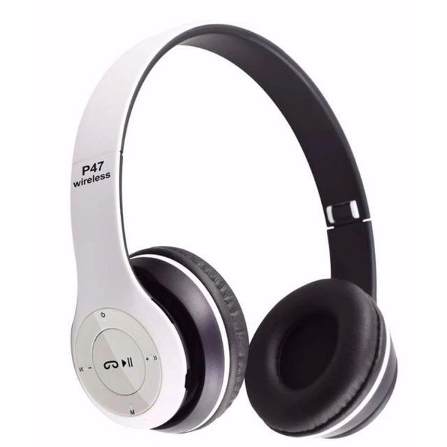 Tai nghe chụp tai cao cấp có khe thẻ nhớ Bluetooth P47 ( trắng)