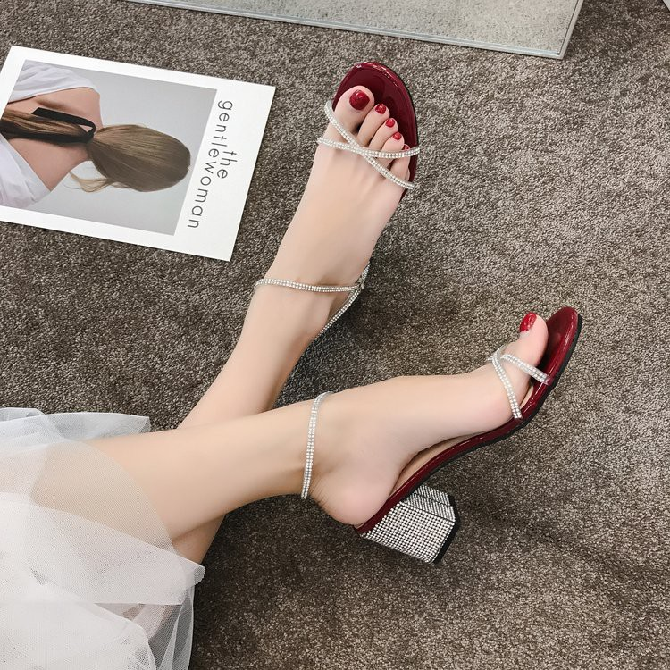 Thick with Roman sandals female wild word with rhinestones with high heels