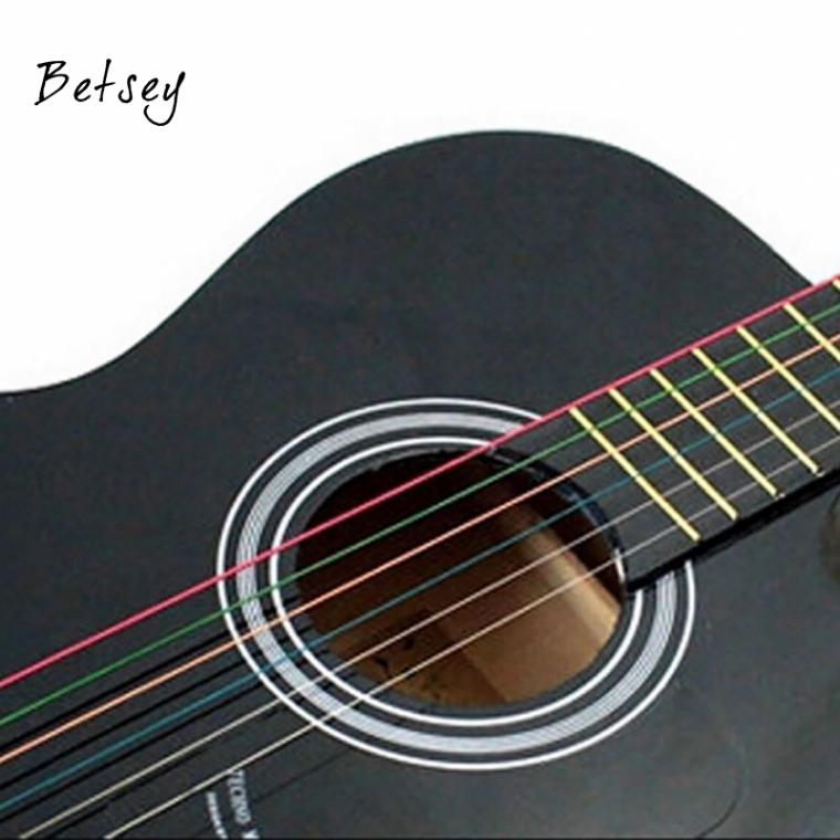Bets 6Pcs Rainbow Color Colorful Steel Strings for Guitar