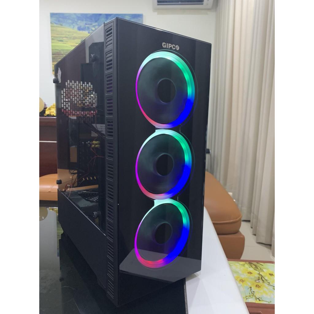 Vỏ Case GIPCO Gaming LED RGB 2 mặt kính cường lực