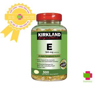 Vitamin E Kirkland 400 IU, Mỹ (500 viên) trẻ hóa làn da, chống lão hóa cho phụ nữ từ 12 tuổi trở lên thumbnail