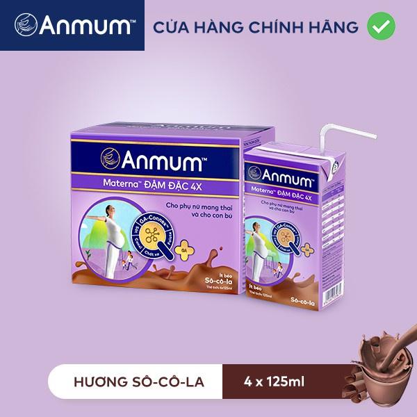 Combo 2 Lốc Sữa nước Anmum Materna Concentrate Đậm Đặc 4X Hương Socola 125ml x 4 hộp