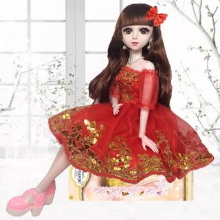 Búp Bê BJD 18 Khớp :Công Chúa Váy Đỏ Đính Kim Sa Phát Nhạc – Cao 60cm Tặng Váy ,Giày