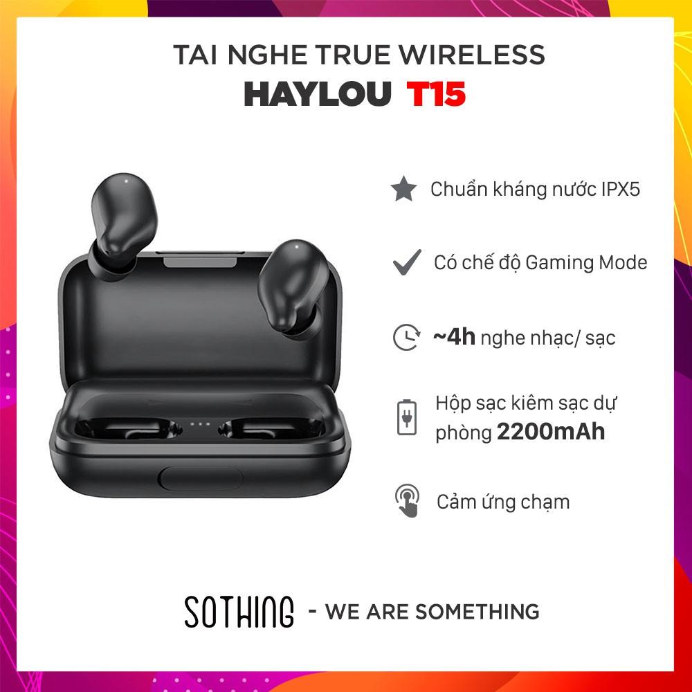 [Bảo hành 6 tháng] Tai Nghe True Wireless HAYLOU T15 Tích Hợp Sạc Dự Phòng 2200mAh - Hàng Chính Hãng