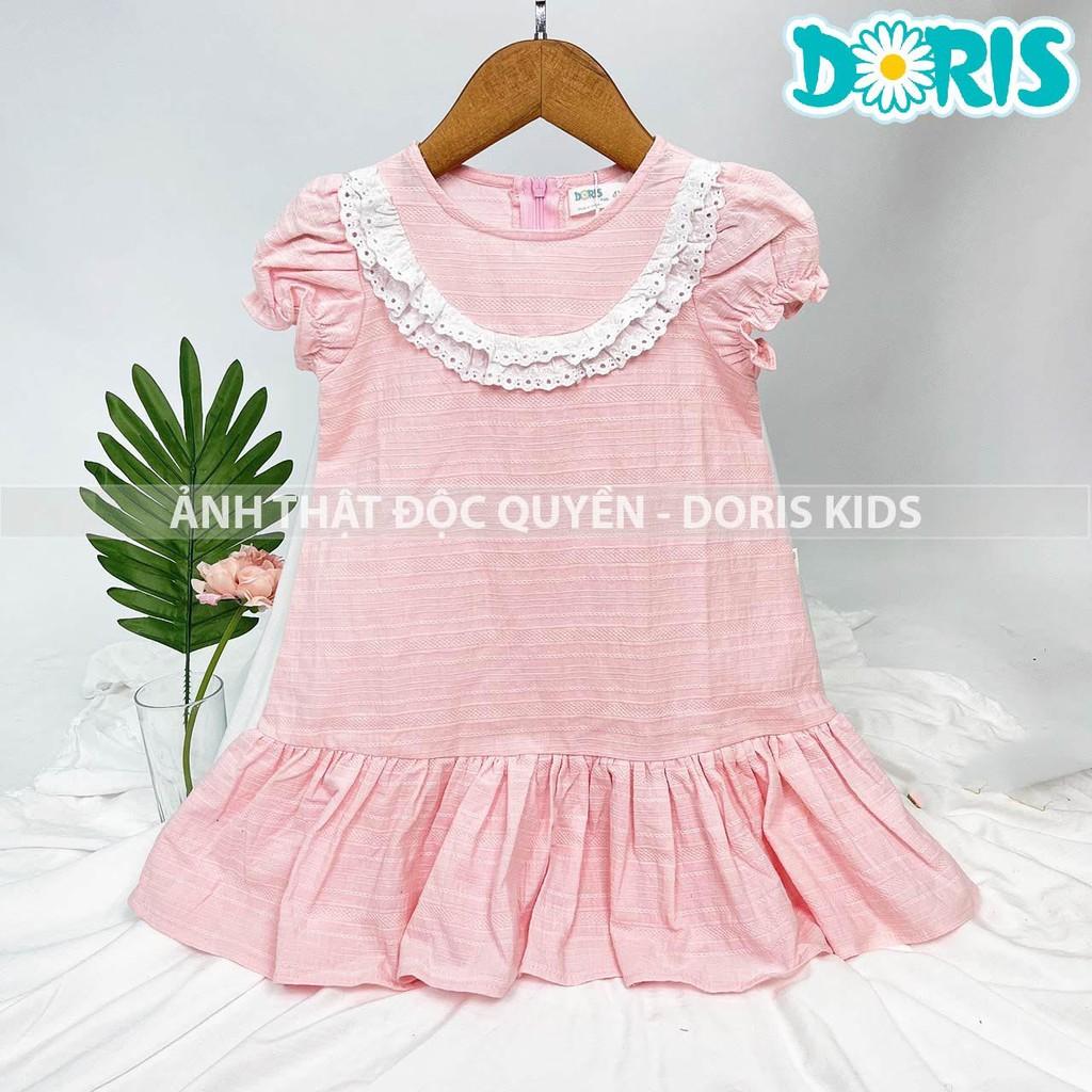 Mặc gì đẹp: Sang chảnh với Đầm Bé Gái Vải Đũi Phối Ren Xinh Xắn Doris Kids.