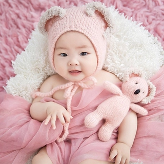 OMG* 3Pcs Newborn Baby Photography Props Knitted Jumpsuit with Beanie Hat Koala Doll
