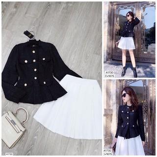 Áo xốp đen khuy ngực kèm chân váy trắng DVC-maidieuhuyen A1730 MH thumbnail