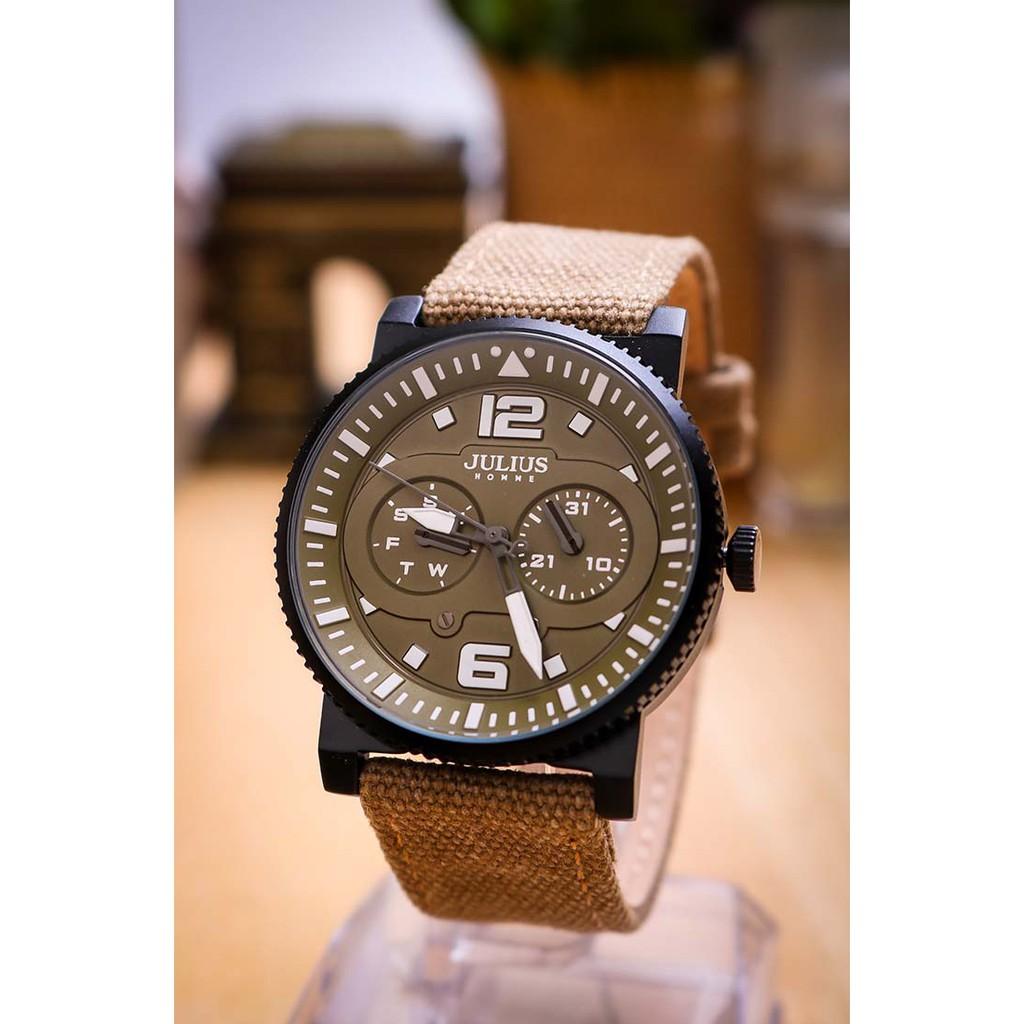 Đồng hồ nam JAH-115B Julius home Hàn Quốc dây da (rêu)