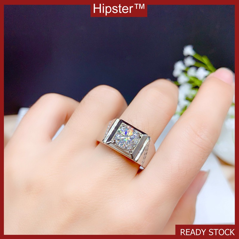 In Platinum with Moissanite Ring