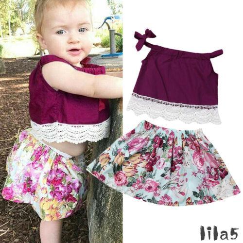 ღ☭Toddler Kid Baby Girl Sling Tops Flower Short Skirt Casual Clothes Outfit Summer Outfit Set