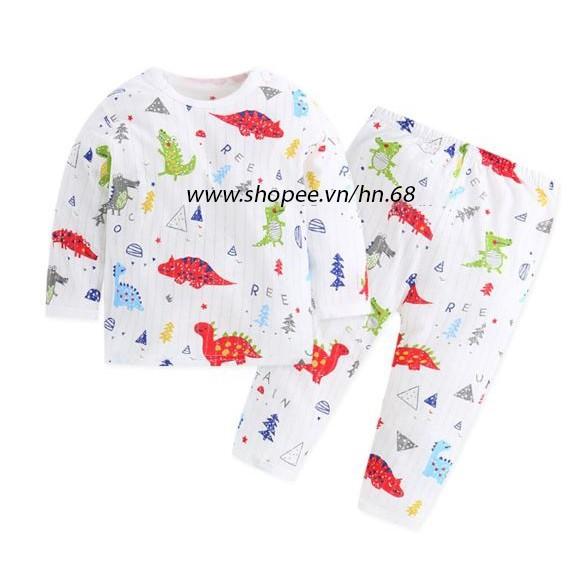 Bộ dài tay khuy vai cotton giấy cho bé trai và bé gái (HN 269)