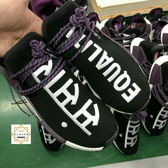 the latest d9fda 8093e (CÓ SẴN - Video) giày thể thao sneaker NMD HUMAN RACE EQUALITY đen chữ trắng