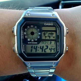 Đồng hồ nam Casio AE 1200-WHD classic chống nước , dây thép không gỉ (dây bạc mặt đen) thumbnail