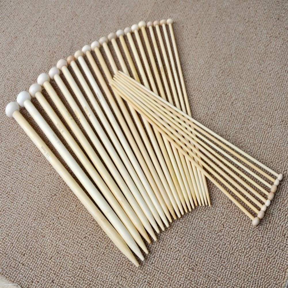 Set 36 kim đan len bằng gỗ đầu nút tròn 18 kích cỡ