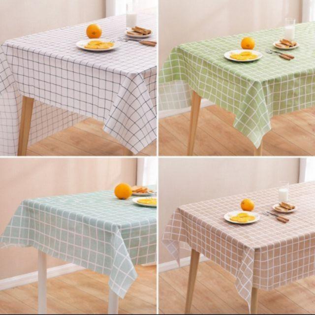 Khăn trải bàn caro (137×180cm) tone màu pastel chống thấm nước, dễ lau sạch/ khăn nền chụp ảnh