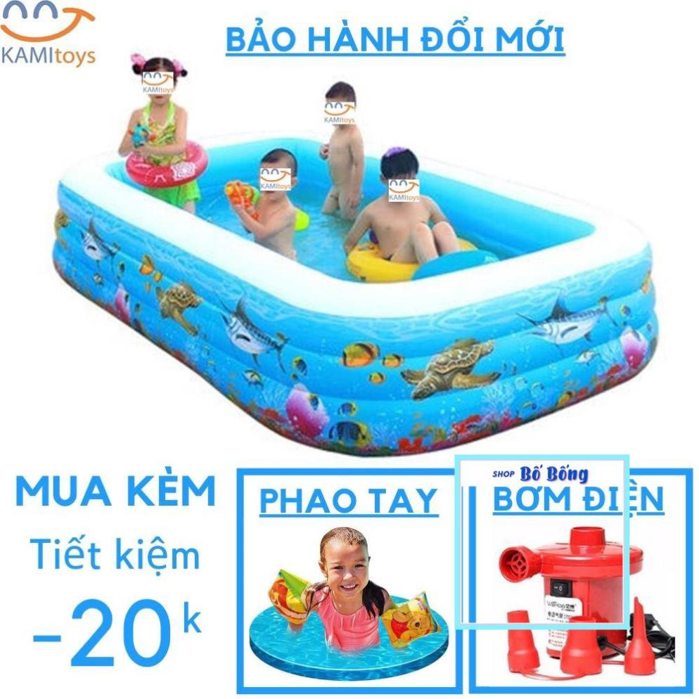 Bể bơi phao cho bé  ANH NHẬT  bơm hơi cho trẻ em thành cao 3 tầng 1m5 2m6 1m8