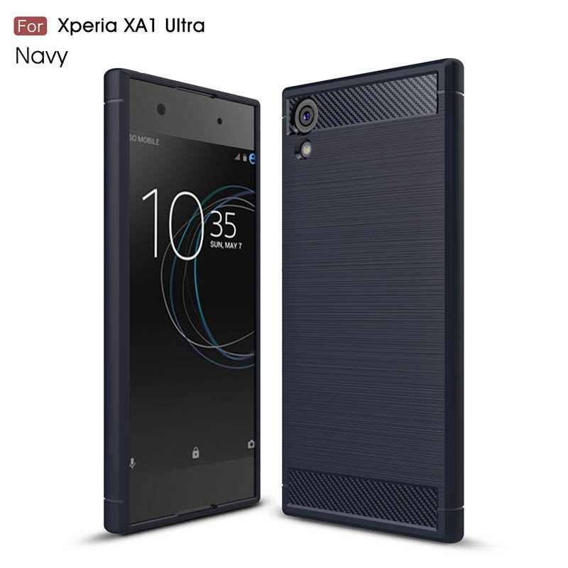 Carbon Fiber Case Sony Xperia XZ XZS L2 XA1 XA2 XA3 Ultra Plus Brushed Soft TPU Phone Cover