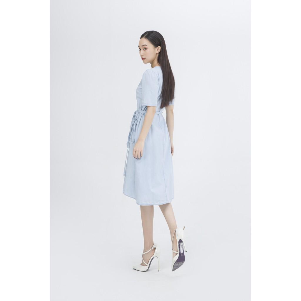 Ivy moda Đầm Bò Thắt Dây Eo Ms 47B7209