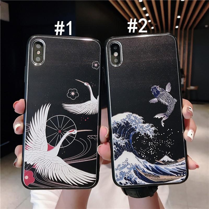 Ốp Iphone Kute Dẻo - M192 Hạc Cá Chép