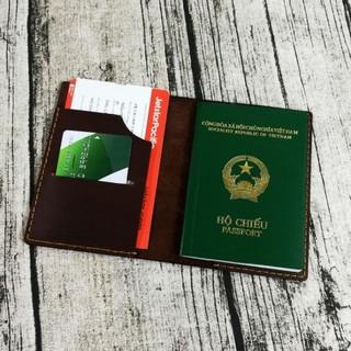Passport cover, ví đựng passport, hộ chiếu da bò handmade - PP526 thumbnail