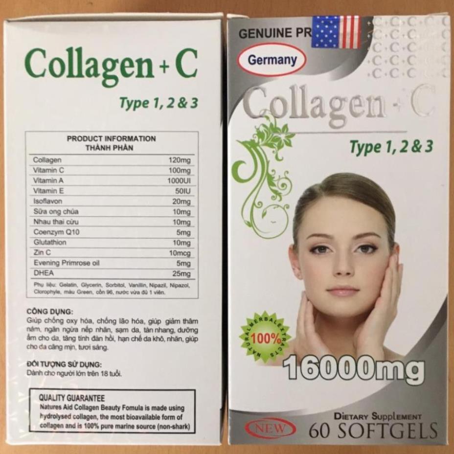 (hàng chính hãng hiệu quả) Collagen C 16000Mg Đẹp Da, Sáng Da, Mờ Thâm, Chống Lão Hóa Hộp 60 Viên  giúp giảm thâm nám, ngăn ngừa nếp nhăn, sạm da, tàn nhang, dưỡng ẩm cho da, tăng tính đàn hồi, hạn chế da khô nhăn giúp cho da mịn
