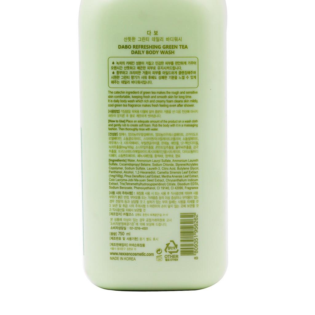 Sữa tắm trà xanh DABO REFRESHING GREEN TEA Hàn Quốc 750ml