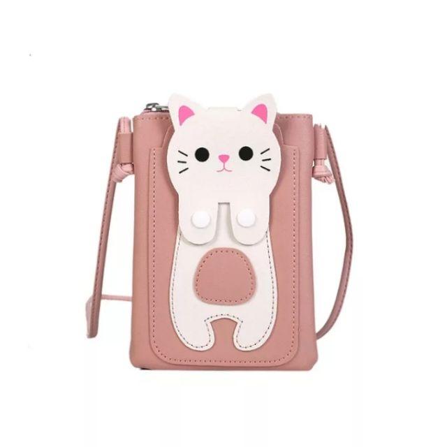 [Giá sốc] Túi đeo chéo nữ da PU hình mèo dễ thương