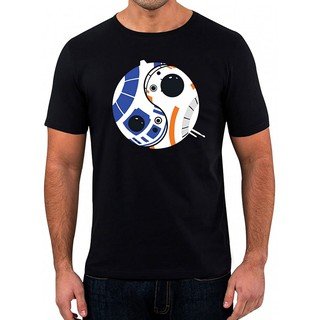 Star Wars T-Shirt Droid Ying Yang Mens Black Shirt Short sleeve Print graphic Loose Casual Cotton Couple Wear Comfort t shirts