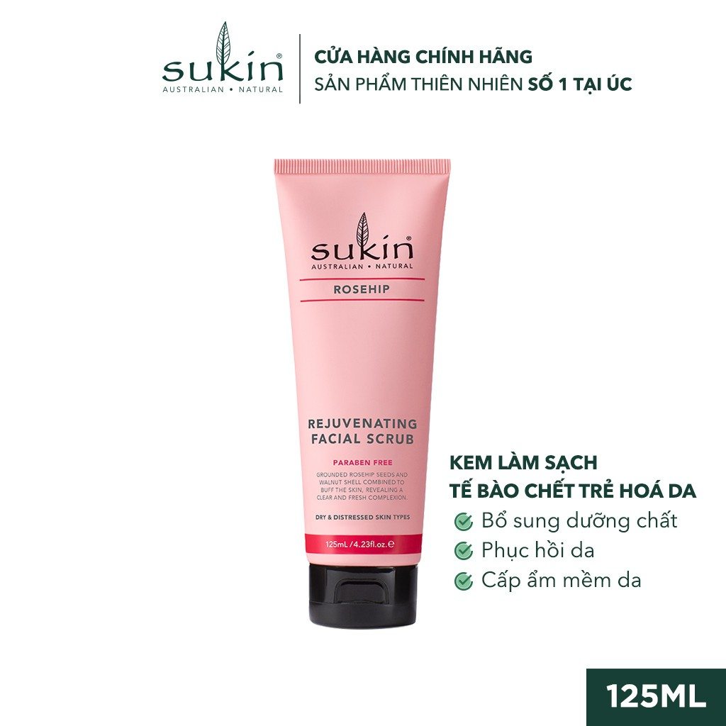 Kem Làm Sạch Tế Bào Chết Da Mặt Tầm Xuân Sukin Rosehip Rejuvenating Facial Scrub 125ml