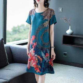 Váy lụa băng mới mẹ mùa hè rộng phụ nữ 40 tuổi 50 trung niên và cao quý phái Kiểu phương Tây cỡ lớn