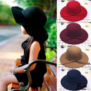 ♔BTY♔Girls Elegant Retro Pure Color Comfortable Big Eaves Bowknot Beach Hat