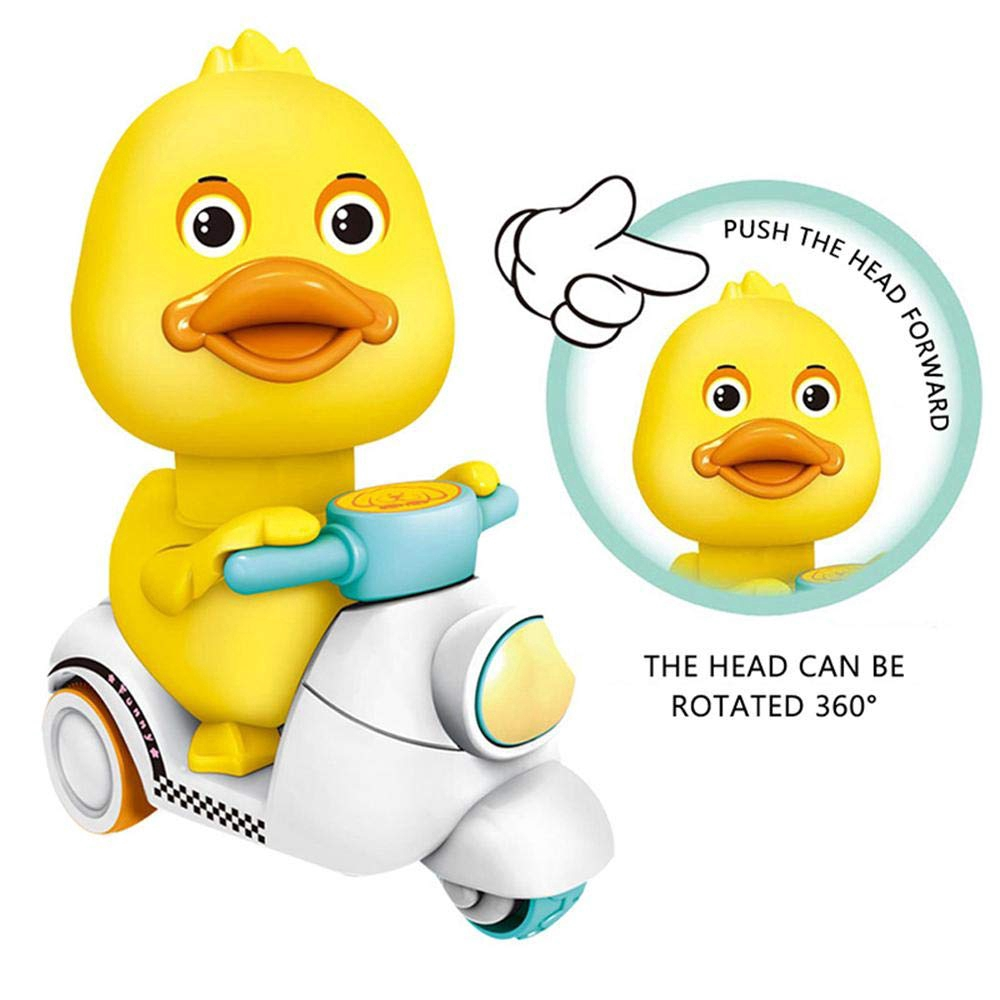 Cute Kids Pressing Motorcycle Yellow Duck Wind Up Toys Babies Inertia Car Toy