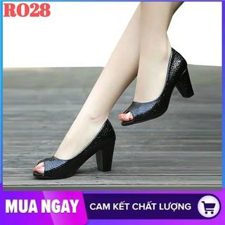 Giày cao gót nữ đẹp đế vuông 7cm hàng hiệu rosata màu đen ro28