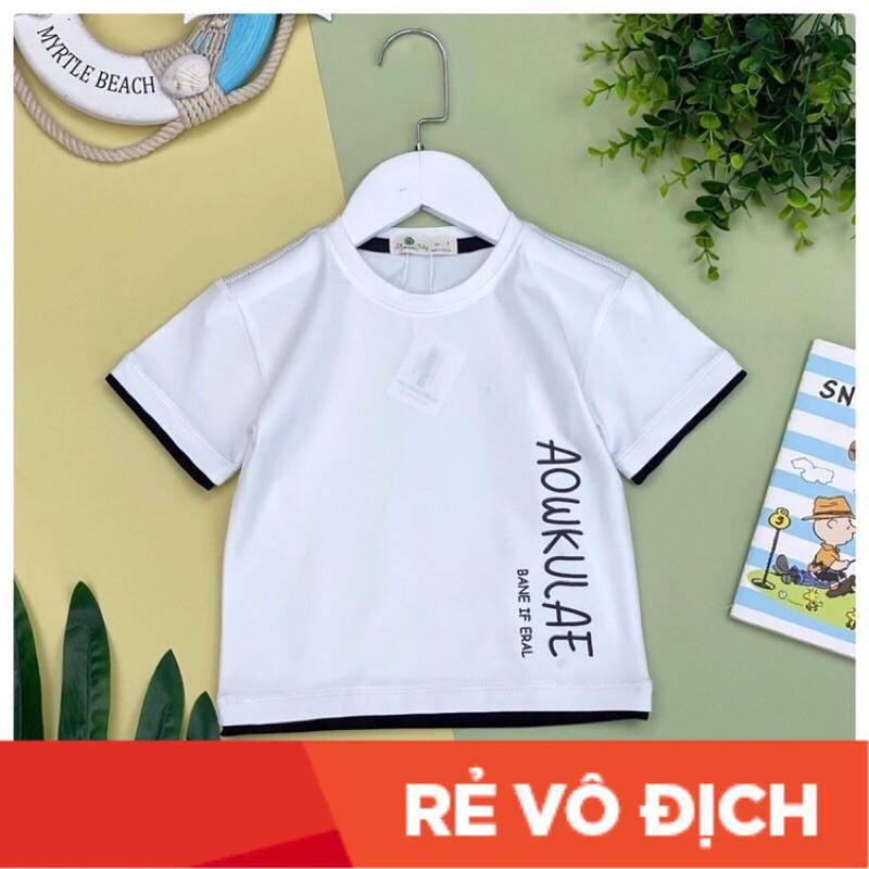 Áo cotton bé trai in chữ AOWKULAE size 15-18, cho bạn 41-50kg. Chất cotton mềm mịn, thấm hút mồ hôi
