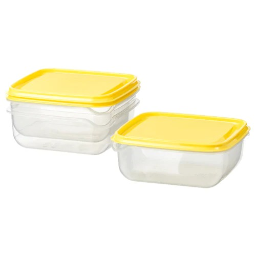 IKEA กล่องเก็บอาหาร 3 ใบ สีเหลือง