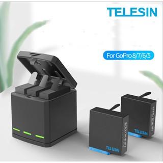 Telesin Sạc 3 Pin Type C và Pin GoPro CHÂN XANH 8/7/6/5 1220mAh 3.8V Pin GOPRO chất lượng đạt chuẩn EU