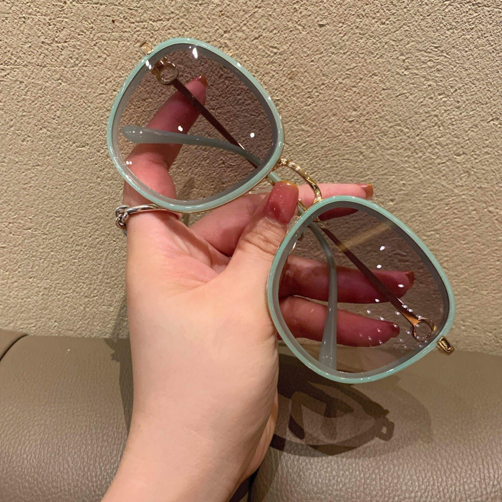 Net Red Round Face Tea Green Ink Mirror Female Summer Sunscreen Street Fashion Ins2021 New Tide Sunglasses Female Summer