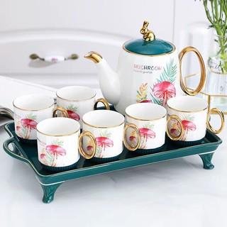 Bộ bình cốc kèm khay sứ pha trà cà phê màu xanh ca thumbnail